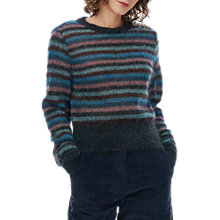 Buy Brora Mohair Striped Jumper, Charcoal Online at johnlewis.com