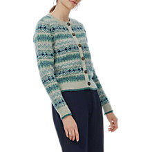 Buy Brora Lambswool Fair Isle Cardigan, Silver Online at johnlewis.com