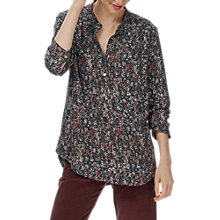 Buy Brora Painterly Floral Tunic Top, Auburn/Coal Online at johnlewis.com