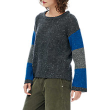 Buy Brora Wool And Mohair Colour Block Jumper, Charcoal Online at johnlewis.com
