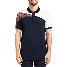 Buy BOSS Green Paddy Pro Chest Polo Shirt, Navy Online at johnlewis.com