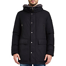 Buy BOSS Orange Olsan Hooded Parka Jacket, Black Online at johnlewis.com