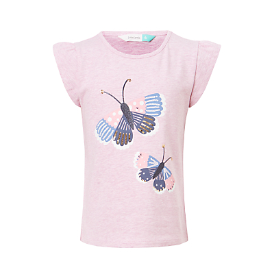 Product photo of John lewis girls butterfly embroidered tshirt lilac