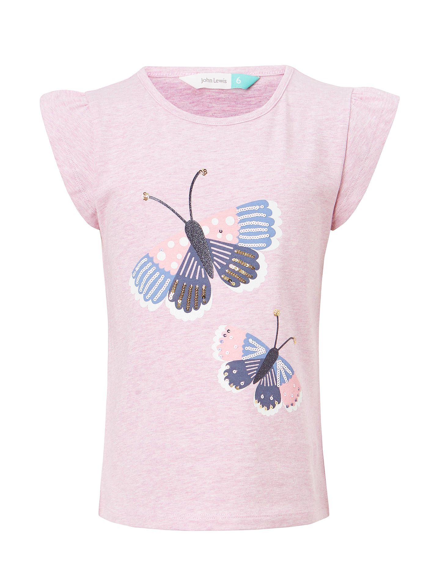 64d39f2038be Buy John Lewis Girls  Butterfly Embroidered T-Shirt