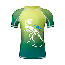 Buy John Lewis Boys' Short Sleeve Dinosaur Rashie, Green Online at johnlewis.com