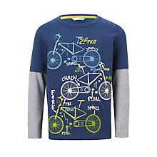 Buy John Lewis Boys' Bike Print T-Shirt, Navy Online at johnlewis.com