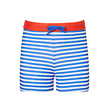 Buy John Lewis Boys' Stripe Printed Swimming Trunks, Navy Online at johnlewis.com