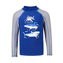 Buy John Lewis Boys' Shark Long Sleeve Rashie, Navy Online at johnlewis.com