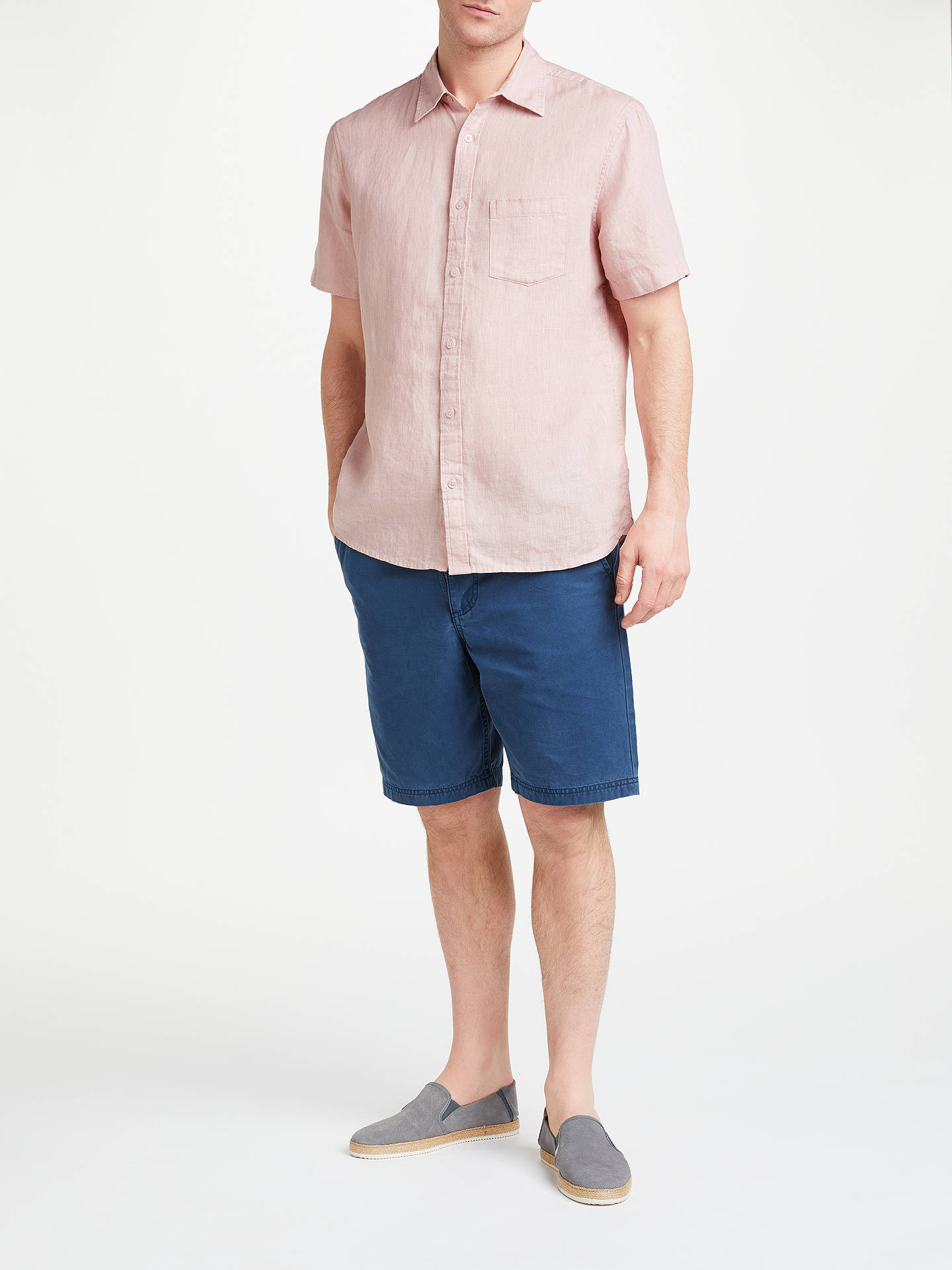 BuyJohn Lewis & Partners Short Sleeve Linen Shirt, Light Pink, S Online at johnlewis.com