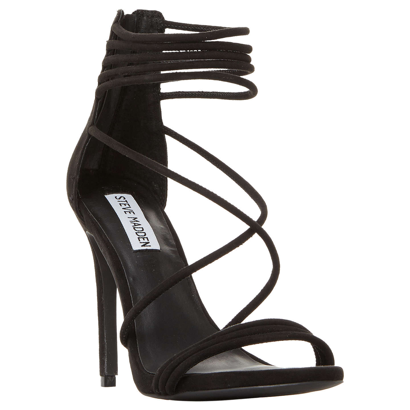 BuySteve Madden Answer Multi Strap Stiletto Heeled Sandals, Black Suede, 5  Online at johnlewis ...