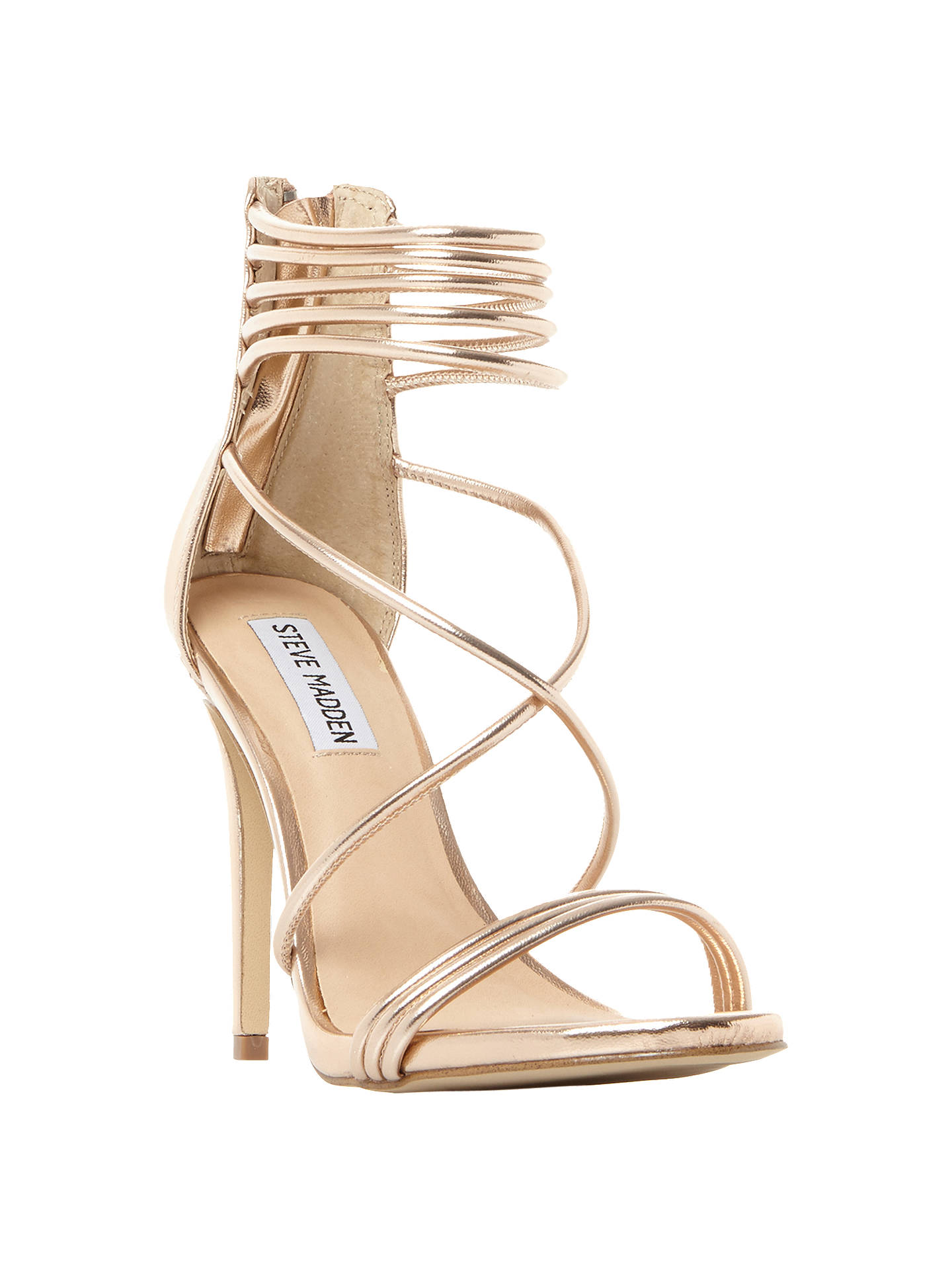 86def03b42 Buy Steve Madden Answer Multi Strap Stiletto Heeled Sandals, Rose Gold  Leather, 3 Online ...