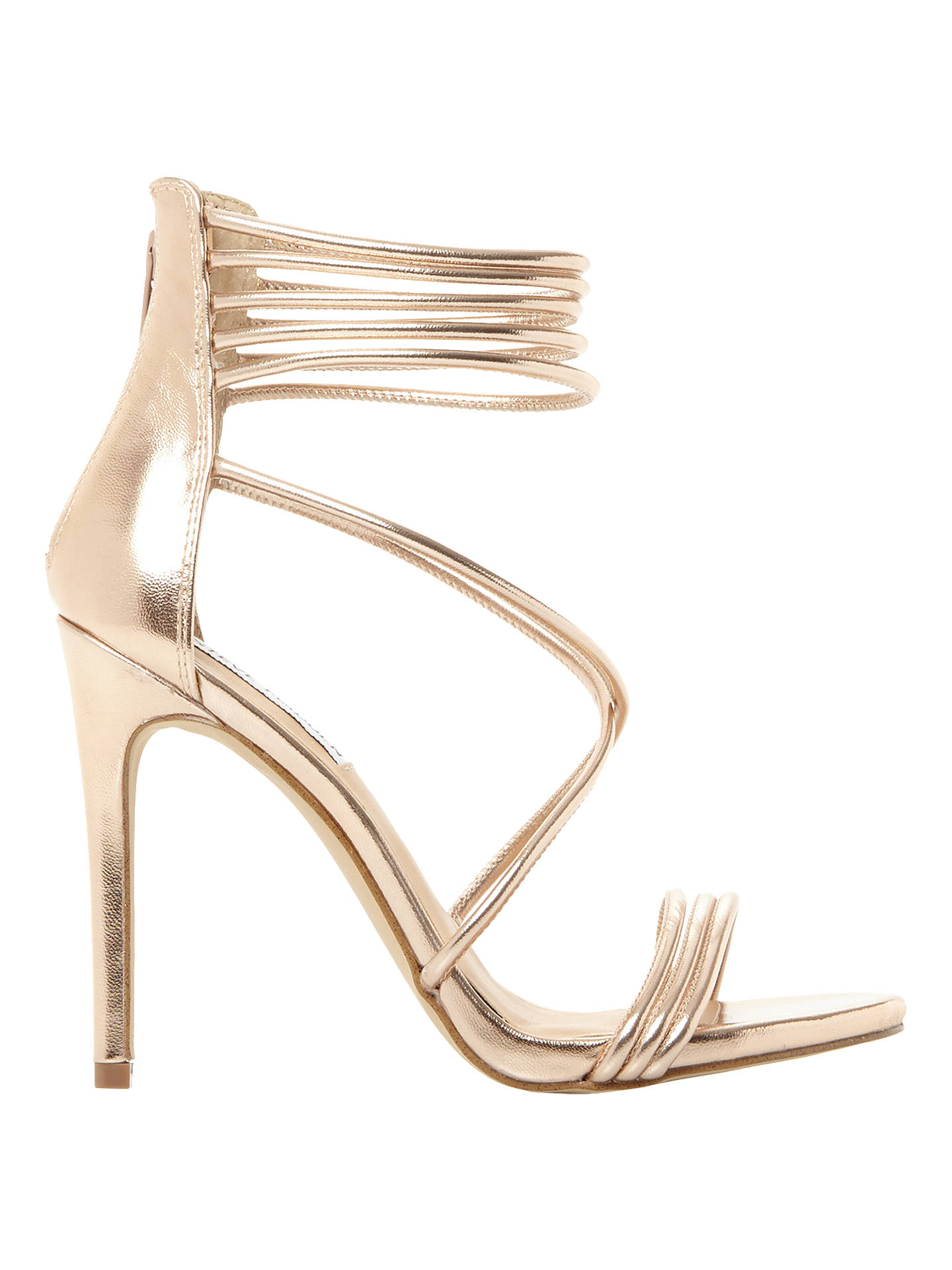 8ae003257f ... Buy Steve Madden Answer Multi Strap Stiletto Heeled Sandals, Rose Gold  Leather, 3 Online