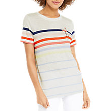 Buy Oasis Rainbow Stripe Flamingo T-Shirt, Multi Online at johnlewis.com