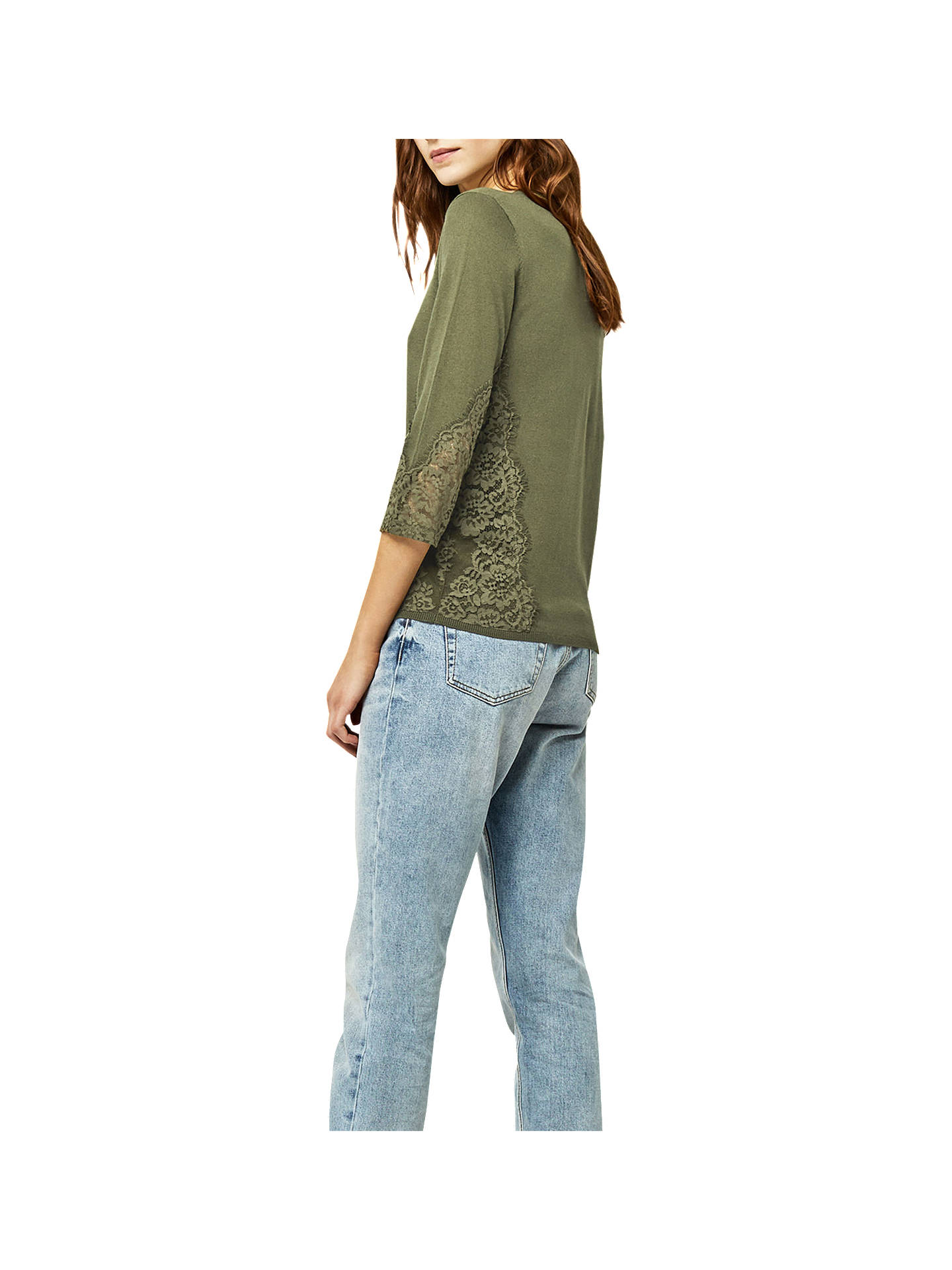 BuyWarehouse Lace Side Jumper, Khaki, 6 Online at johnlewis.com