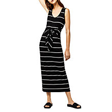 Buy Warehouse Stripe Tie Front Maxi Dress, Black/White Online at johnlewis.com
