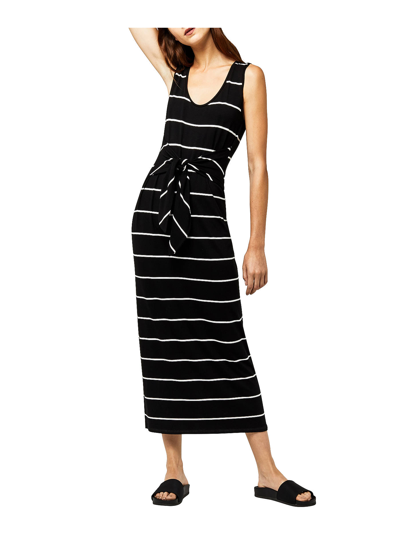 447e7c2e2ba1 Buy Warehouse Stripe Tie Front Maxi Dress, Black/White, 6 Online at  johnlewis ...