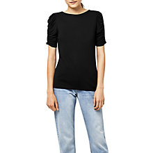 Buy Warehouse Ruched Sleeve Top, Black Online at johnlewis.com