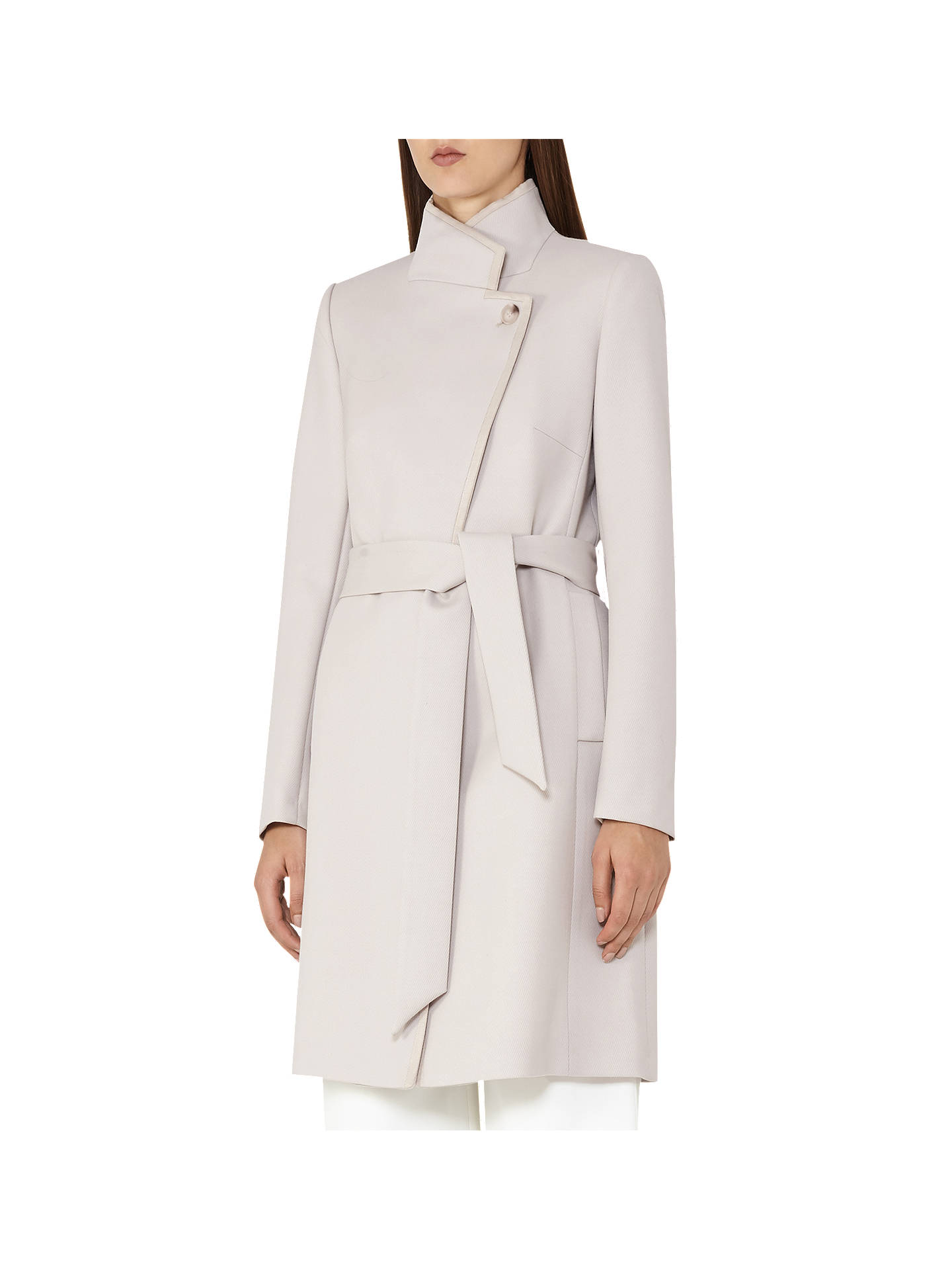 70142057 Reiss Hetty Belted Wrap Front Coat, Tiramisu at John Lewis & Partners