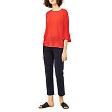 Buy Warehouse Fluted Sleeve Textured Top, Bright Red Online at johnlewis.com