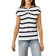 Buy Warehouse Wide Stripe Knotted T-Shirt, Blue Online at johnlewis.com