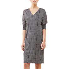 Buy Jigsaw Stacked Grid Jersey Dress, Dark Navy Online at johnlewis.com