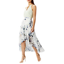 Buy Coast Amber Floral Printed Asymmetric Hem Midi Skirt, White/Multi Online at johnlewis.com