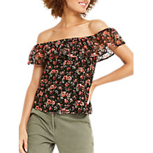 Buy Oasis Mini Rose Lace Bardot Top, Black Online at johnlewis.com