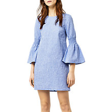 Buy Warehouse Chambray Smock Dress, Light Blue Online at johnlewis.com