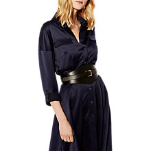 Buy Karen Millen Leather Wide Buckle Waist Belt, Black Online at johnlewis.com