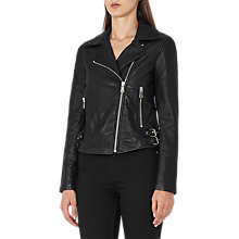Buy Reiss Ally Leather Biker Jacket, Black Online at johnlewis.com