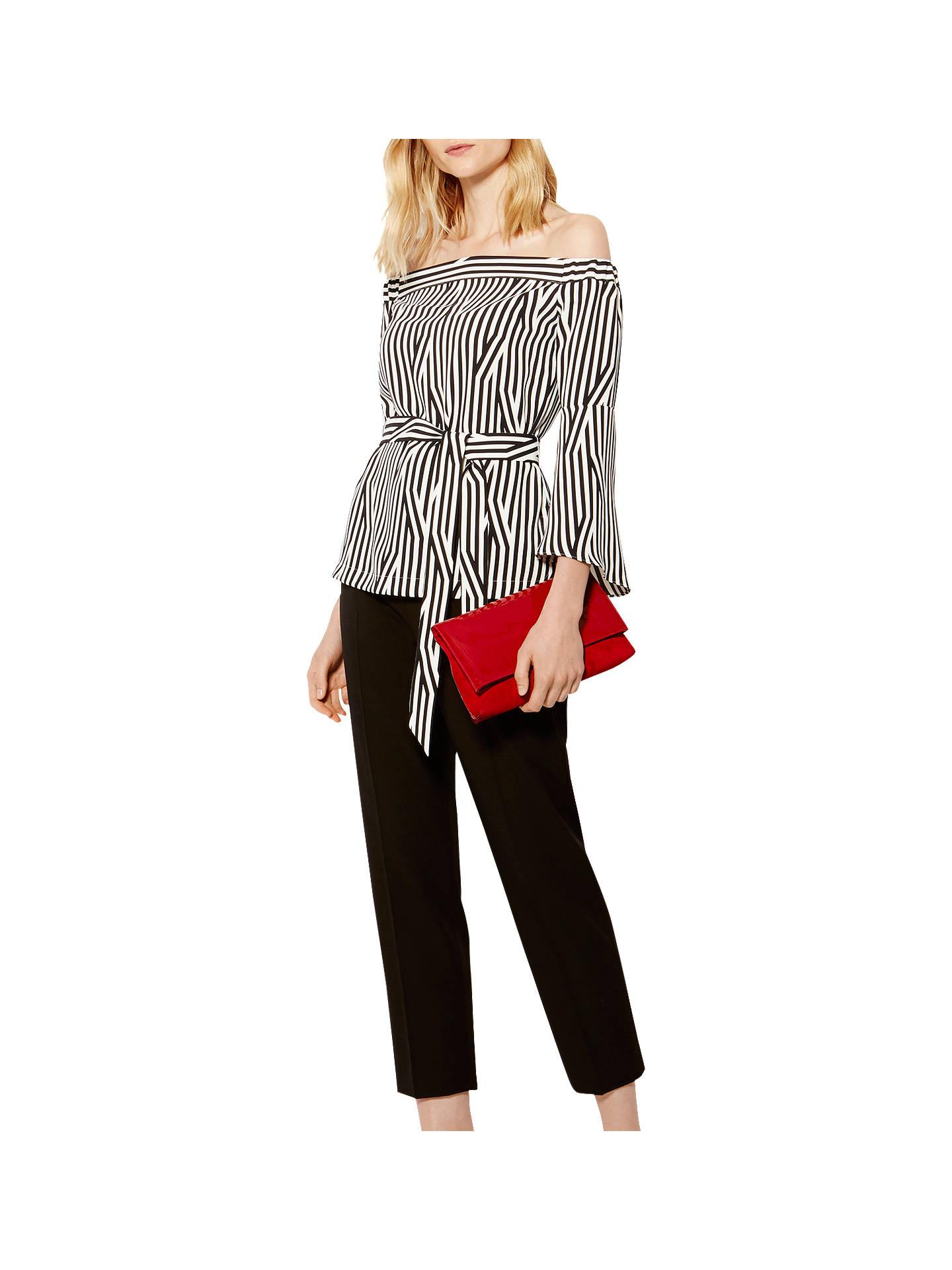 9ea25aeccf50f3 Buy Karen Millen Striped Bardot Top, Black and White, 6 Online at johnlewis.