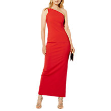 Buy Karen Millen One Shoulder Pencil Maxi Dress, Red Online at johnlewis.com