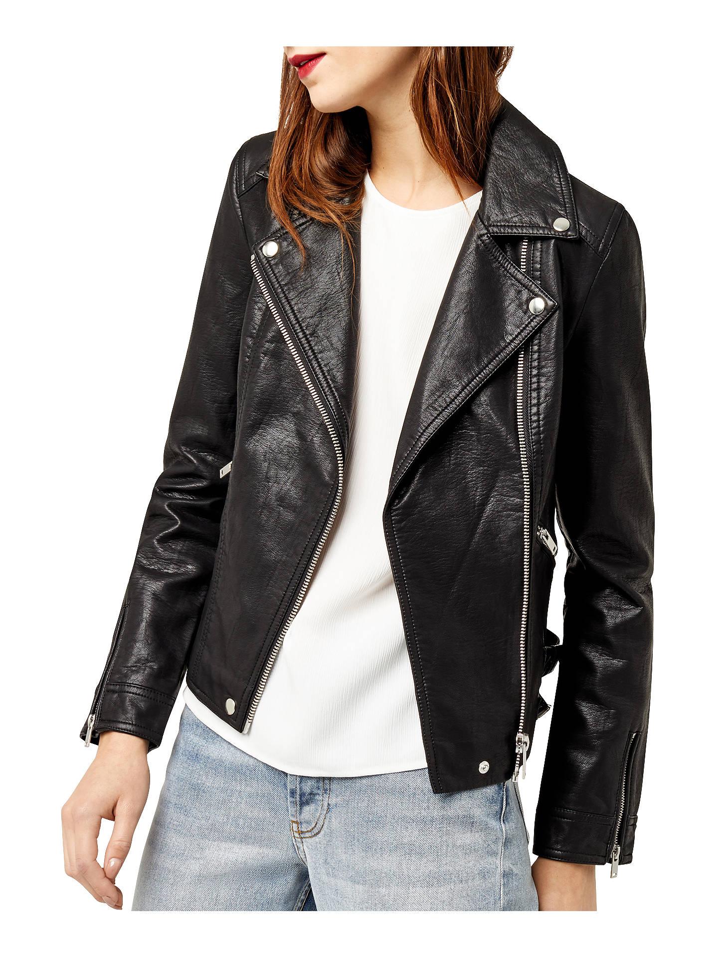 e8cd4364c Warehouse Faux Leather Biker Jacket, Black at John Lewis & Partners