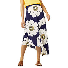 Buy Warehouse Melody Floral Midi Skirt, Blue Online at johnlewis.com