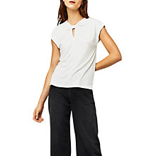 Buy Warehouse Knot Neck T-Shirt, White Online at johnlewis.com