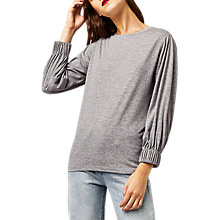 Buy Warehouse Ruched Cuff Top, Light Grey Online at johnlewis.com