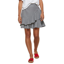 Buy Miss Selfridge Gingham Ruffle Mini Skirt, Black/White Online at johnlewis.com