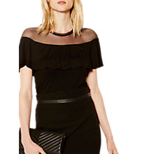 Buy Karen Millen Mesh Panel Frill Top, Black Online at johnlewis.com