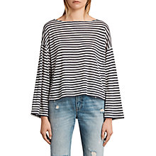 Buy AllSaints Nova Linen Striped T-Shirt, Chalk White/Navy Online at johnlewis.com