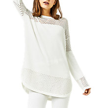 Buy Warehouse Mesh Panel Longline Jumper, Cream Online at johnlewis.com