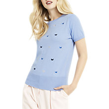 Buy Oasis Embroidered Flutter Jumper, Mid Blue Online at johnlewis.com