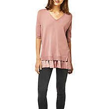 Buy Warehouse Woven Hem Jumper, Light Pink Online at johnlewis.com