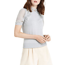 Buy Oasis Lace and Sheer Jumper, Mid Grey Online at johnlewis.com