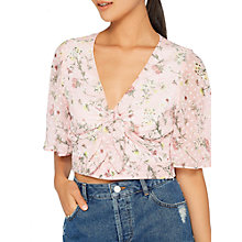 Buy Miss Selfridge Doby Tie Front Top, Pink/Multi Online at johnlewis.com