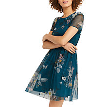 Buy Oasis Marie Mesh Skater Dress, Turquoise Online at johnlewis.com