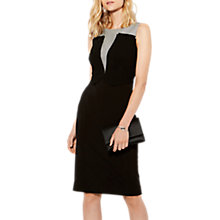 Buy Karen Millen Plunge Contrast Pencil Dress, Black/Multi Online at johnlewis.com