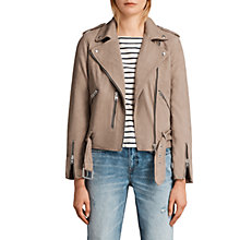 Buy AllSaints Balfern Biker Jacket, Mushroom Brown Online at johnlewis.com