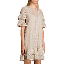 Buy AllSaints Henrietta Ruffle Dress, Oyster White Online at johnlewis.com