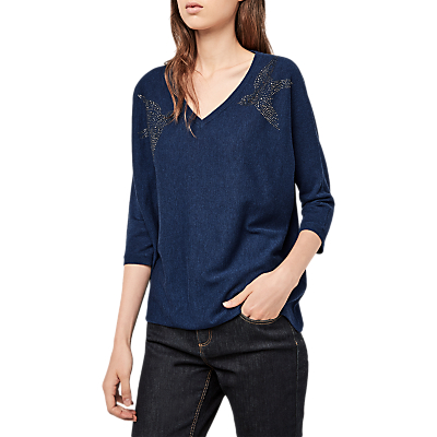 Gerard Darel Embellished Bird V Neck Three Quarter Length Sleeve Pullover, Blue