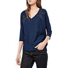 Buy Gerard Darel Embellished Bird V Neck Three Quarter Length Sleeve Pullover, Blue Online at johnlewis.com